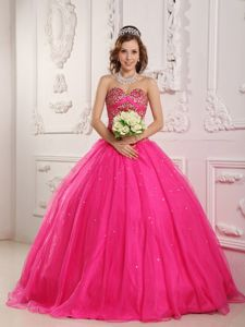 Sweetheart Satin and Organza Hot Pink Beaded Quinceanera Dresses