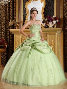 Beaded Yellow Green Tulle and Taffeta Quinceanera Dress on Sale
