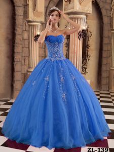 Blue Organza Beading Ball Gown Quinceanera Gowns in Bonn Germany