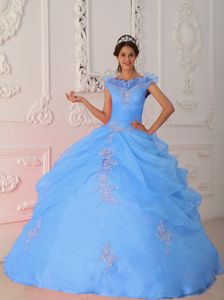 Taffeta and Organza Blue V-neck Appliques Bead Quinceanera Gowns