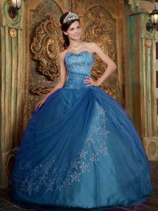 Teal Tulle Sweetheart Star Appliques Sweet 15 Dresses in Bamberg