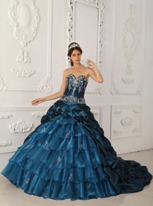 Chapel Train Appliques and Ruffles Sweet Sixteen Quinceanera Dresses