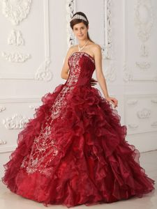 Wine Strapless Embroidery Sweet Sixteen Dresses in Atmore with Ruffles