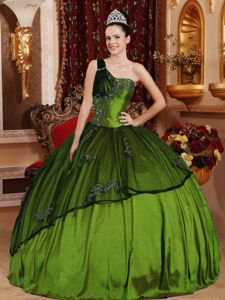 Olive Green One Shoulder Dress For Quinceaneras with Beads and Appliques