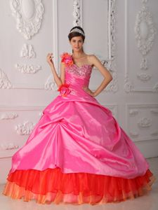 Rose Pink One Shoulder with Hand Flower Beadings Quinceaneras Dress