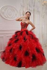 Red and Black Sweetheart Beading and Ruche Dress For Quinceaneras in Decatur