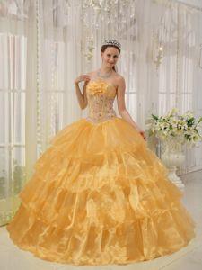 Orange Strapless Taffeta and Organza Beading Dress For Quinceanera