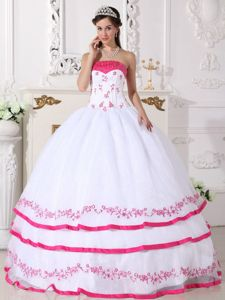 Embroidery for White and Hot Pink Beaded Quinceaneras Dress in Dadeville
