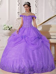 Off The Shoulder Appliques and Flowers for Quinceanera Gown in Purple