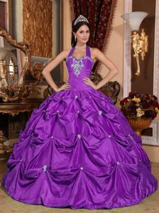 Purple Taffeta Appliques for Quince Dresses in Centre Halter Top Design