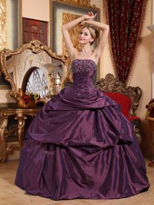 Strapless Purple Sweet 16 Dresses in Brookwood with Beads and Appliques