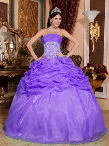 Purple Strapless Appliques Accent Quinceanera Dresses in Bon Secour