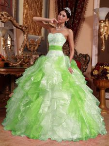 Multi-colored Sweetheart Organza Beading and Ruche Sweet 16 Dresses