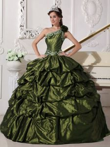 One Shoulder Olive Green Sweet 15 Dresses Appliques and Pick-ups Accent