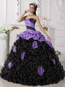 Lavender and Black Quinceaneras Dress with Beading and Rolling Flowers