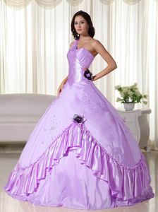 Ball Gown One Shoulder Beading Lavender Quinceanera Gowns in Alpine