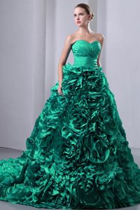 Sweetheart Brush Turquoise A-Line Ruche and Flowers Dress for Quince