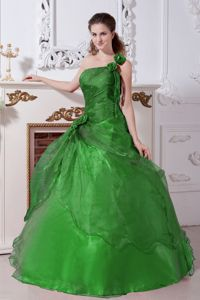 Beading Green A-line Sweet Sixteen Dresses with One Shoulder Design