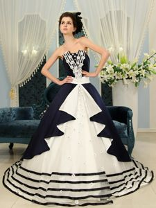 Navy Blue And White Court with Appliques Accent Quinceaneras Dress