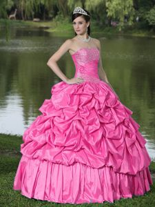Clearance Hot Pink with Beading Decorate Dress for Quince in Equality