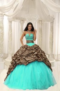 Leopard Beading Decorate Sweet 15 Dresses Sweetheart Neckline for Design