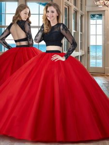 Dazzling Red Sweet 16 Dresses Military Ball and Sweet 16 and Quinceanera and For with Appliques Scoop Long Sleeves Backless