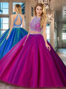 Deluxe Fuchsia Two Pieces Tulle Scoop Sleeveless Beading Floor Length Backless Quinceanera Dress