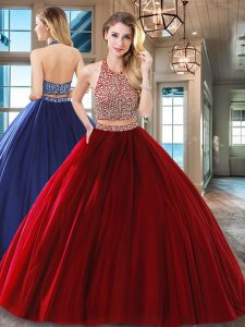 Halter Top Sleeveless Tulle Floor Length Backless Sweet 16 Dress in Wine Red with Beading