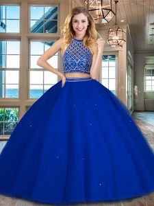 New Style Floor Length Royal Blue Sweet 16 Quinceanera Dress Halter Top Sleeveless Backless