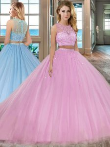 Dynamic Scoop Beading Quinceanera Dress Lilac Zipper Sleeveless With Train Court Train