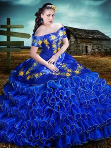 Ruffled Floor Length Royal Blue Sweet 16 Quinceanera Dress Off The Shoulder Short Sleeves Lace Up