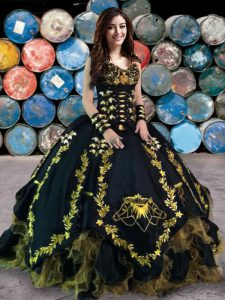 Dramatic Ball Gowns Quinceanera Gowns Black Sweetheart Organza and Taffeta Sleeveless Floor Length Lace Up