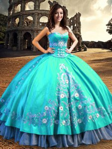 Attractive Aqua Blue Lace Up Sweetheart Embroidery Ball Gown Prom Dress Taffeta Sleeveless