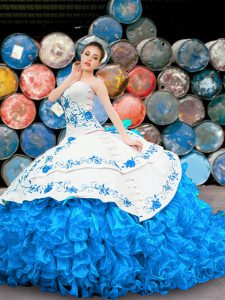 Blue And White Lace Up Halter Top Appliques and Embroidery and Ruffles Quinceanera Gowns Organza Sleeveless