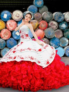 White And Red Lace Up Sweetheart Appliques and Embroidery and Ruffles Ball Gown Prom Dress Organza Sleeveless