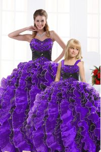 Amazing Sweetheart Sleeveless 15 Quinceanera Dress Floor Length Beading and Appliques and Ruffles Black And Purple Organza