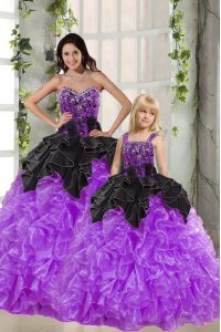 Floor Length Lace Up Ball Gown Prom Dress Black And Purple for Military Ball and Sweet 16 and Quinceanera with Beading and Ruffles