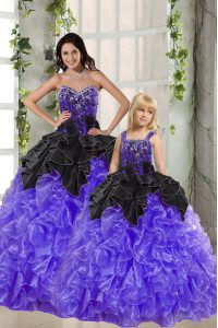 Top Selling Black And Purple Quinceanera Dress Military Ball and Sweet 16 and Quinceanera and For with Beading and Ruffles Sweetheart Sleeveless Lace Up