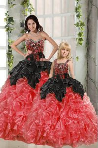 Modern Floor Length Red And Black Sweet 16 Dresses Organza Sleeveless Beading and Ruffles