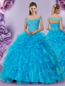 Latest Off The Shoulder Sleeveless Organza Vestidos de Quinceanera Beading and Lace and Ruffles Lace Up