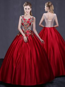 Best Selling Floor Length Wine Red Quinceanera Dresses Scoop Sleeveless Lace Up