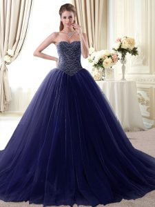 Navy Blue Tulle Lace Up Sweet 16 Quinceanera Dress Sleeveless Floor Length Beading