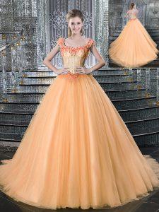 Straps Sleeveless Brush Train Lace Up Quinceanera Dresses Orange Tulle