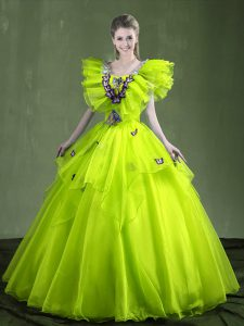 Fitting Sweetheart Sleeveless Lace Up Quinceanera Gown Yellow Green Organza