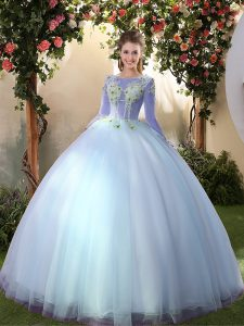 Big Puffy Long Sleeves Tulle Floor Length Lace Up Vestidos de Quinceanera in Light Blue with Appliques