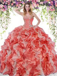 Sumptuous White And Red Ball Gowns Sweetheart Sleeveless Organza Floor Length Lace Up Beading and Ruffles Quince Ball Gowns