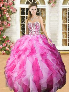Pink And White Ball Gowns Sweetheart Sleeveless Organza Floor Length Lace Up Beading and Ruffles Quinceanera Gowns