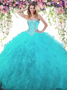 Fancy Floor Length Teal Sweet 16 Dresses Sweetheart Sleeveless Lace Up