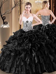 Enchanting Black Organza Lace Up Sweet 16 Quinceanera Dress Sleeveless Floor Length Ruffles and Pattern
