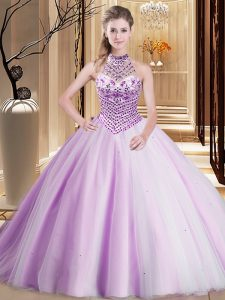 Superior Halter Top Sleeveless Brush Train Lace Up Asymmetrical Beading Sweet 16 Quinceanera Dress